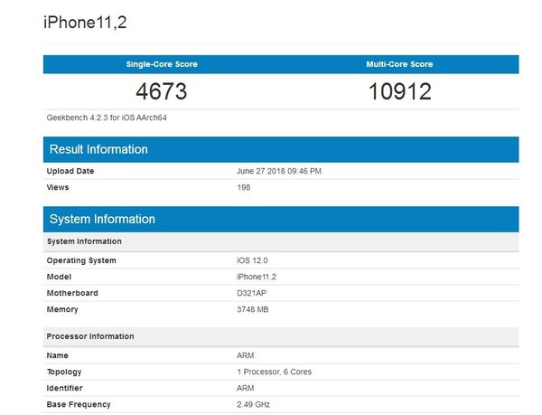 4GB运存破天荒!苹果新iPhone跑分出炉