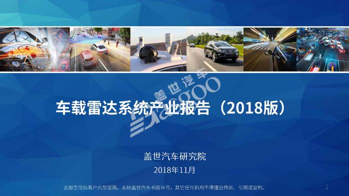【产业报告】车载雷达系统产业报告 (2018版)