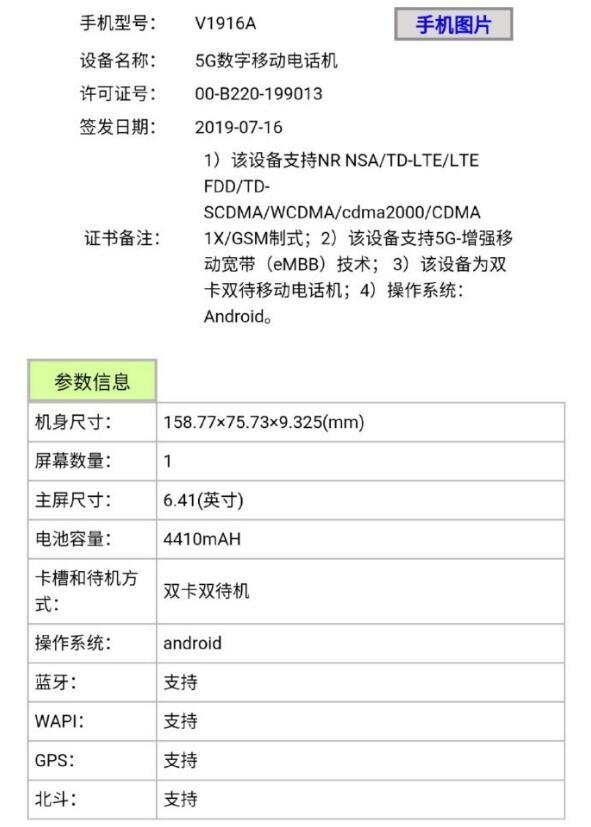 vivo 5G手机iQOO Pro入网工信部 骁龙855芯片搭配4410mAh大电池