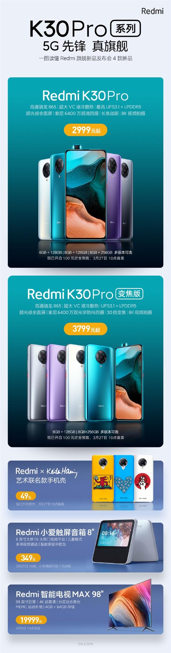 一图读懂Redmi四款旗舰新品:49-19999元