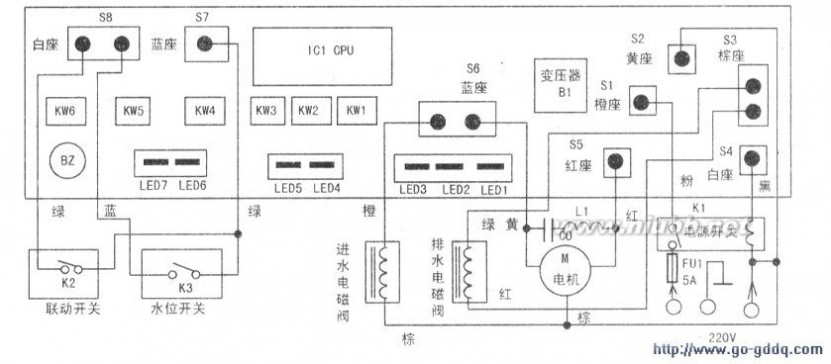 荣事达洗衣机电路图 荣事达XPB50 1885S型双桶洗衣机电路图图片