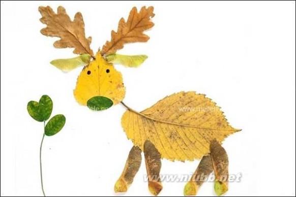 手工教案树叶拼贴画 儿童手工用树叶拼出牛
