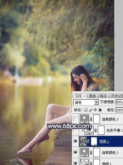 Photoshop为水景人物图片打造艳丽的秋季暖色特效