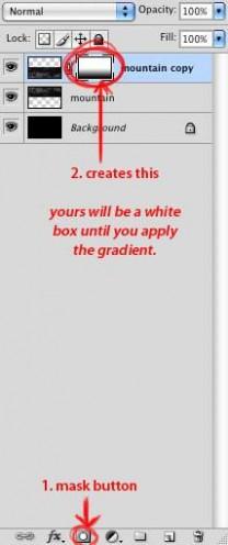 步骤10创建一个&quot图层蒙版&quot然后使用渐变工具在蒙版上创建一个