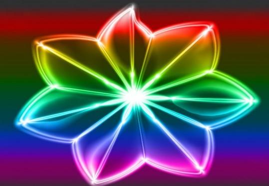 Photoshop利用滤镜打造出绚丽的七色透明花朵效果