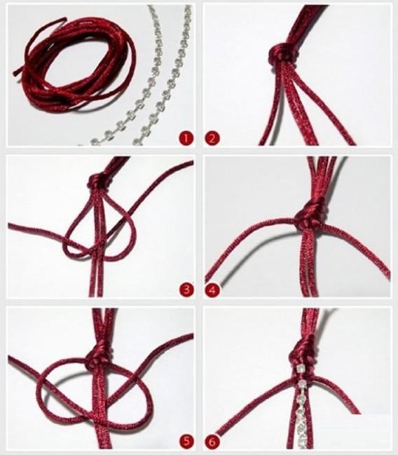 漂亮的流苏花纹红绳手链编法