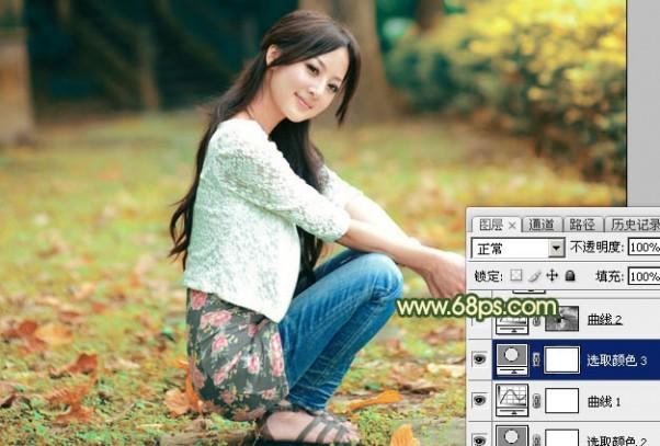 Photoshop为外景美女图片打造甜美的秋季橙绿色