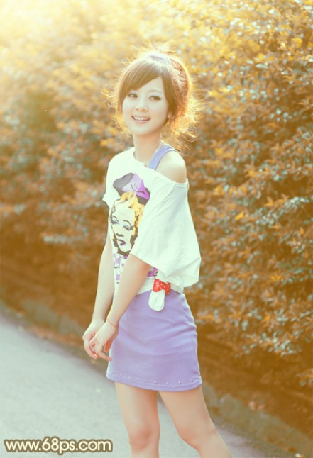 Photoshop将外景美女图片打造出柔美的秋季橙黄色效果