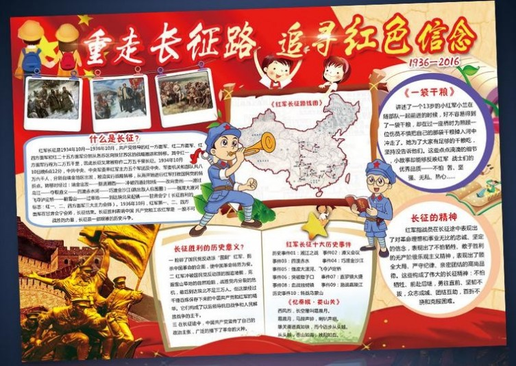 长征胜利80周年手抄报-纪念红军长征胜利80周年手抄报