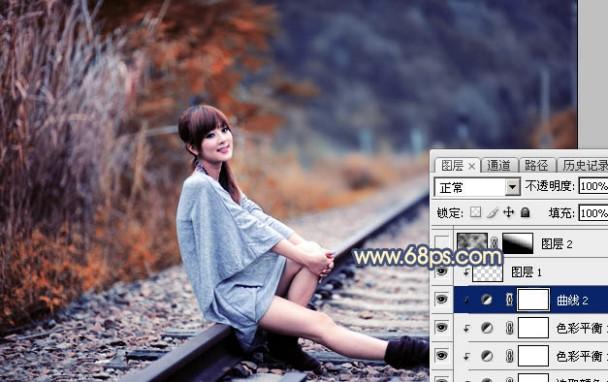 Photoshop为外景人物图片调制出甜美的秋季橙蓝色图片