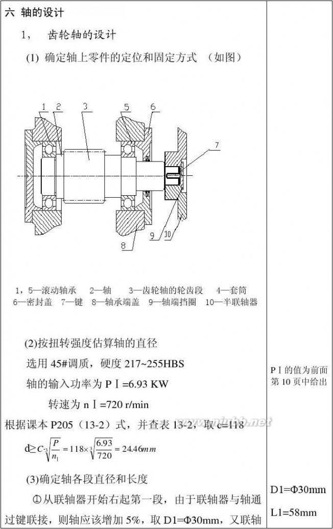 单级圆柱齿轮减速器 一级圆柱齿轮减速器说明书