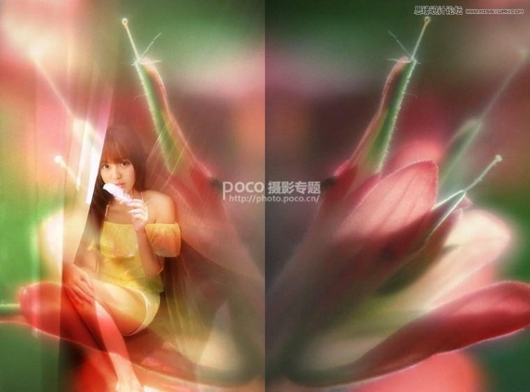 Photoshop后期合成唯美的花朵人像效果图