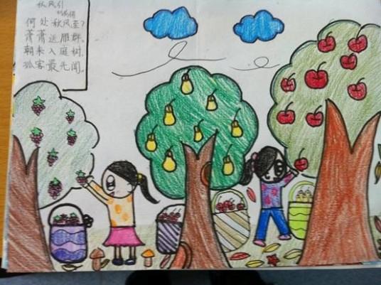 二年级秋天的图画 小学二年级画春天的图画图片