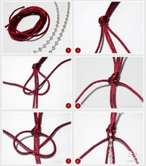 流苏花纹红绳手链编法