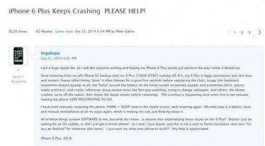 土豪版iPhone 6 Plus罢工?或因应用装太多
