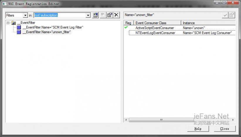 打开 WMI event viewer 填入 rootsubscription