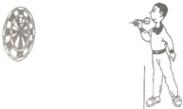 瞄准投飞镖 投飞镖是一项非常有趣的体育活动,如图所示,一位投飞镖的人想投中靶子的中心,他瞄准时应对准( )